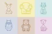 Cute animals in linear style set