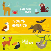 Cute animals set anteater manatee sea cow sloth Hyacinth macaw guanaco lama marmoset monkey armadillo Blue-footed booby, kids background, South America Titicaca, Amazon bright colorful banner. Vector
