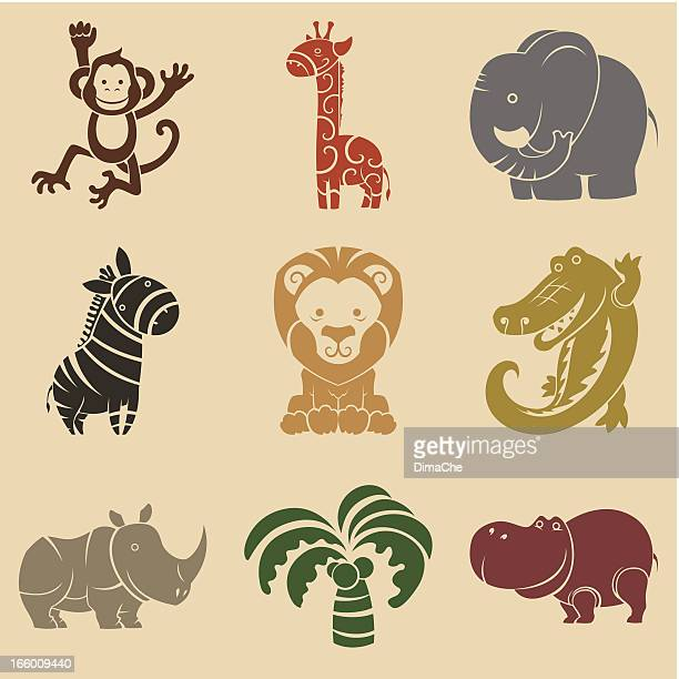 cute animals set - alligator stock illustrations, clip art, cartoons, & icons