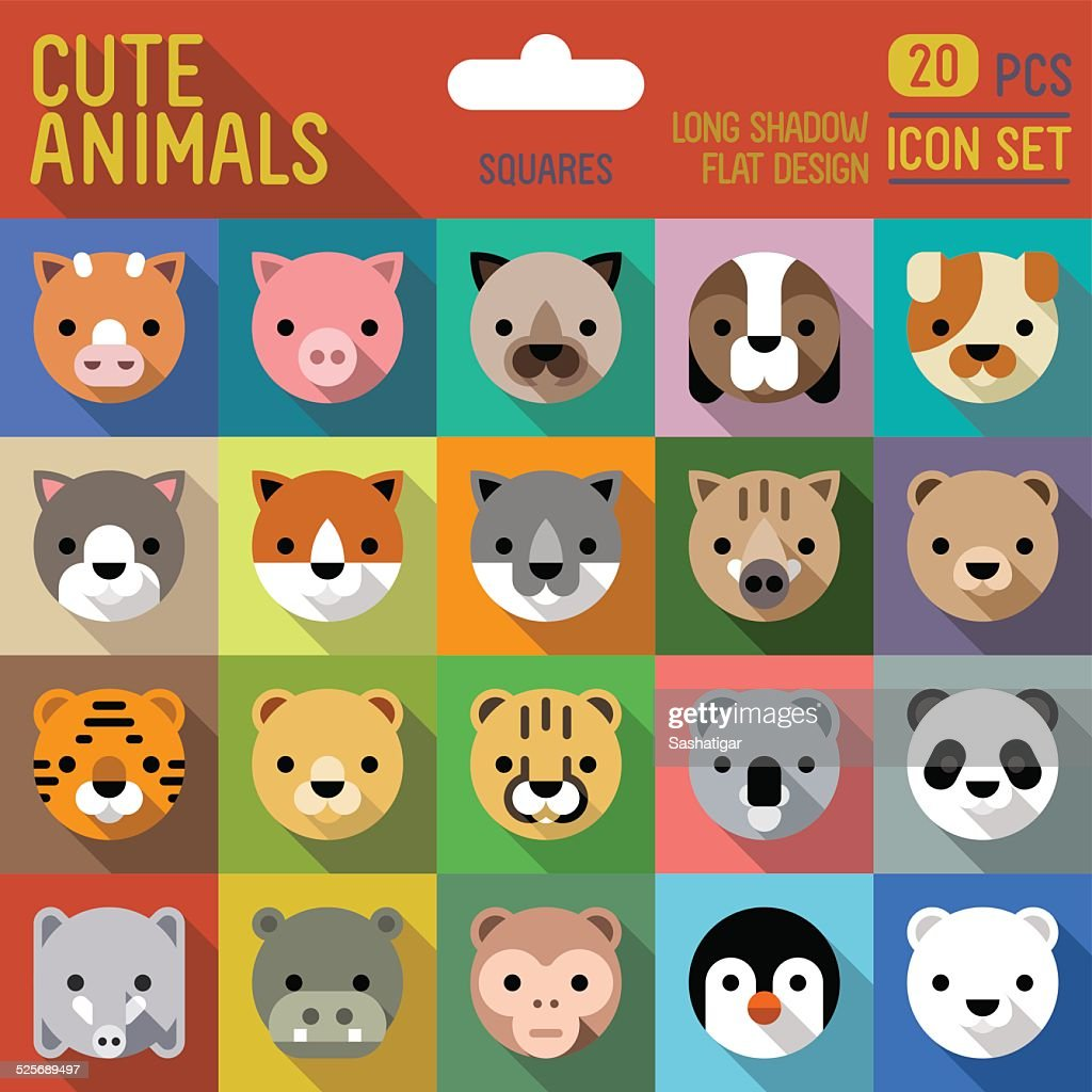 Cute animals square icon set. Vector trendy illustrations.