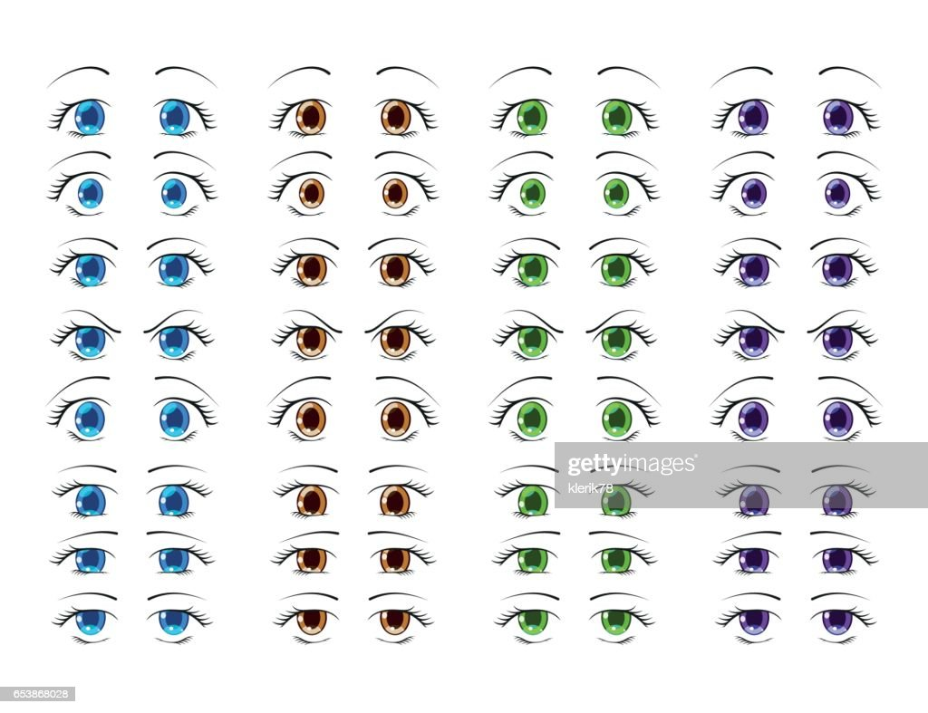 Cute anime eyes in manga style showing various human emotions. Vector illustration.