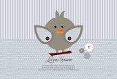 Cute art sweet kid card with bird