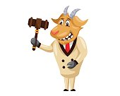 Cute Auction Goat Cartoon Character Illustration