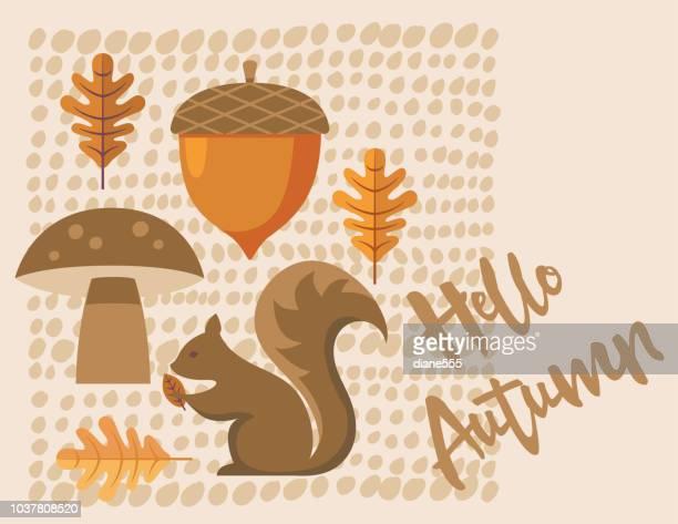 cute autumn background - squirrel stock illustrations