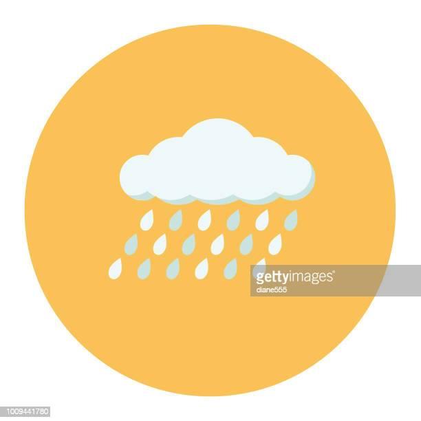 illustrazioni stock, clip art, cartoni animati e icone di tendenza di cute autumn icon - rain cloud - cielo minaccioso