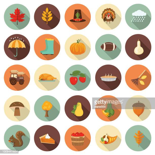 cute autumn icon set - autumn stock illustrations