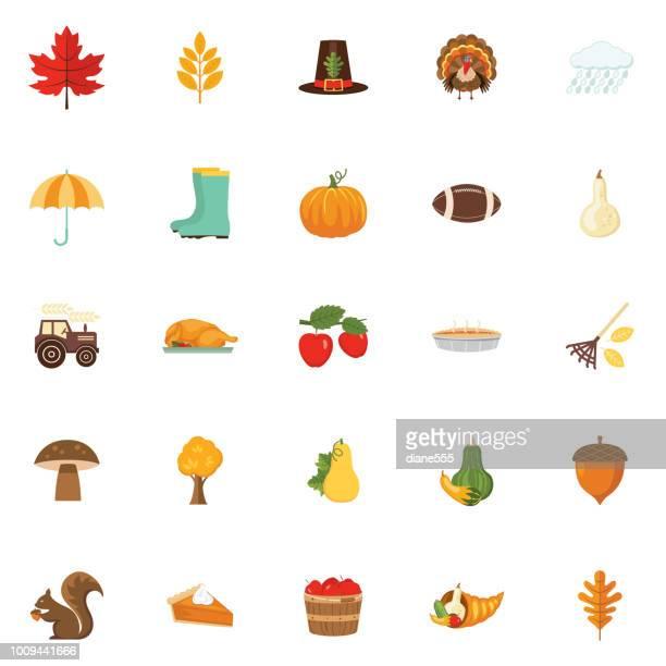 Süße Herbst-Icon-Set