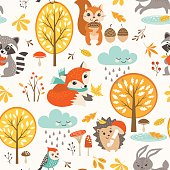 Cute autumn rainy pattern