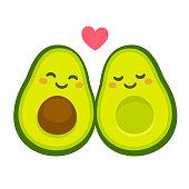 Cute avocado couple in love