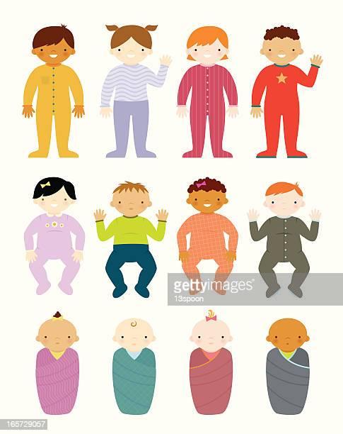 ilustraciones, imágenes clip art, dibujos animados e iconos de stock de linda bebés - baby blanket