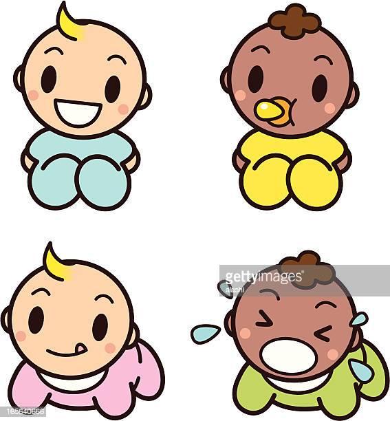 ilustrações, clipart, desenhos animados e ícones de linda bebês - engatinhando