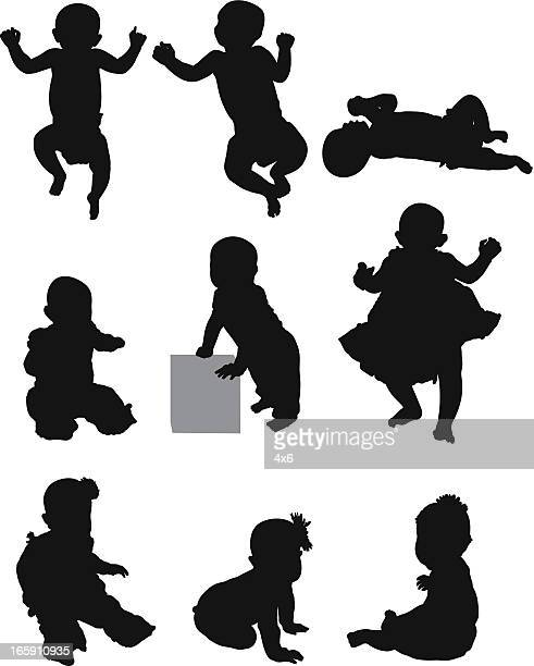 cute babies - lying on back stock illustrations, clip art, cartoons, & icons