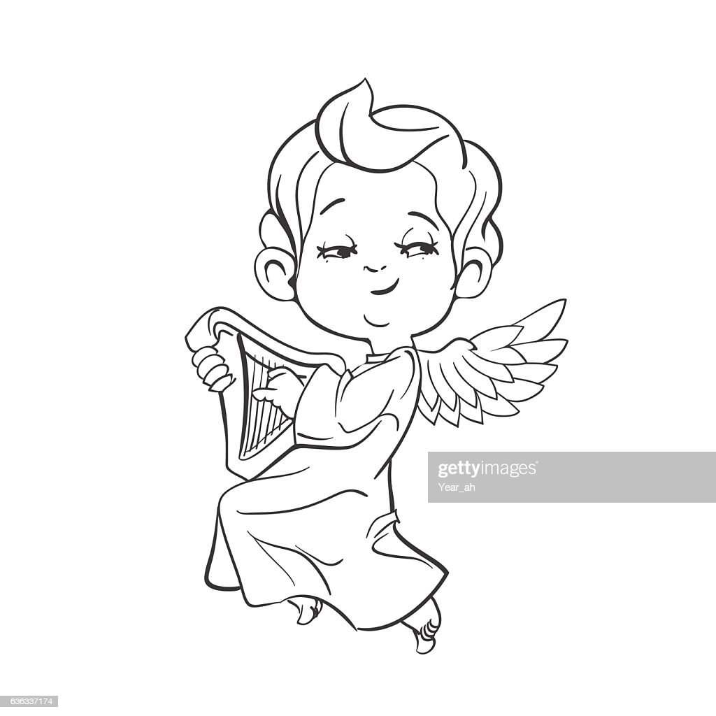 Cute baby angel making music playing harp