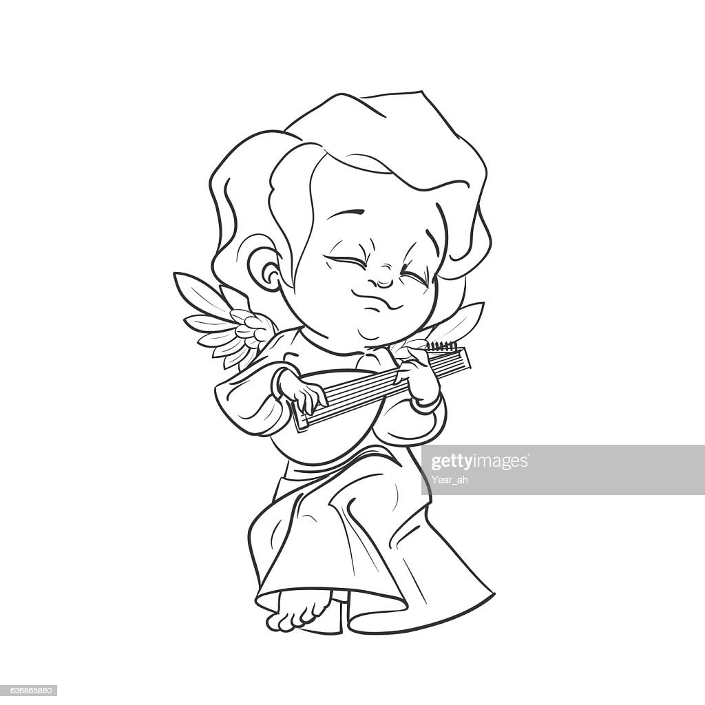 Cute baby angel making music playing lute