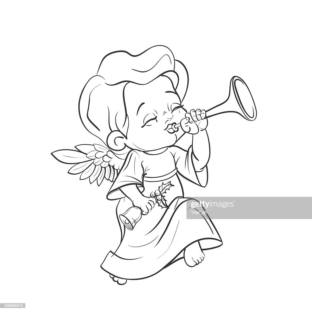Cute baby angel making music playing trumpet