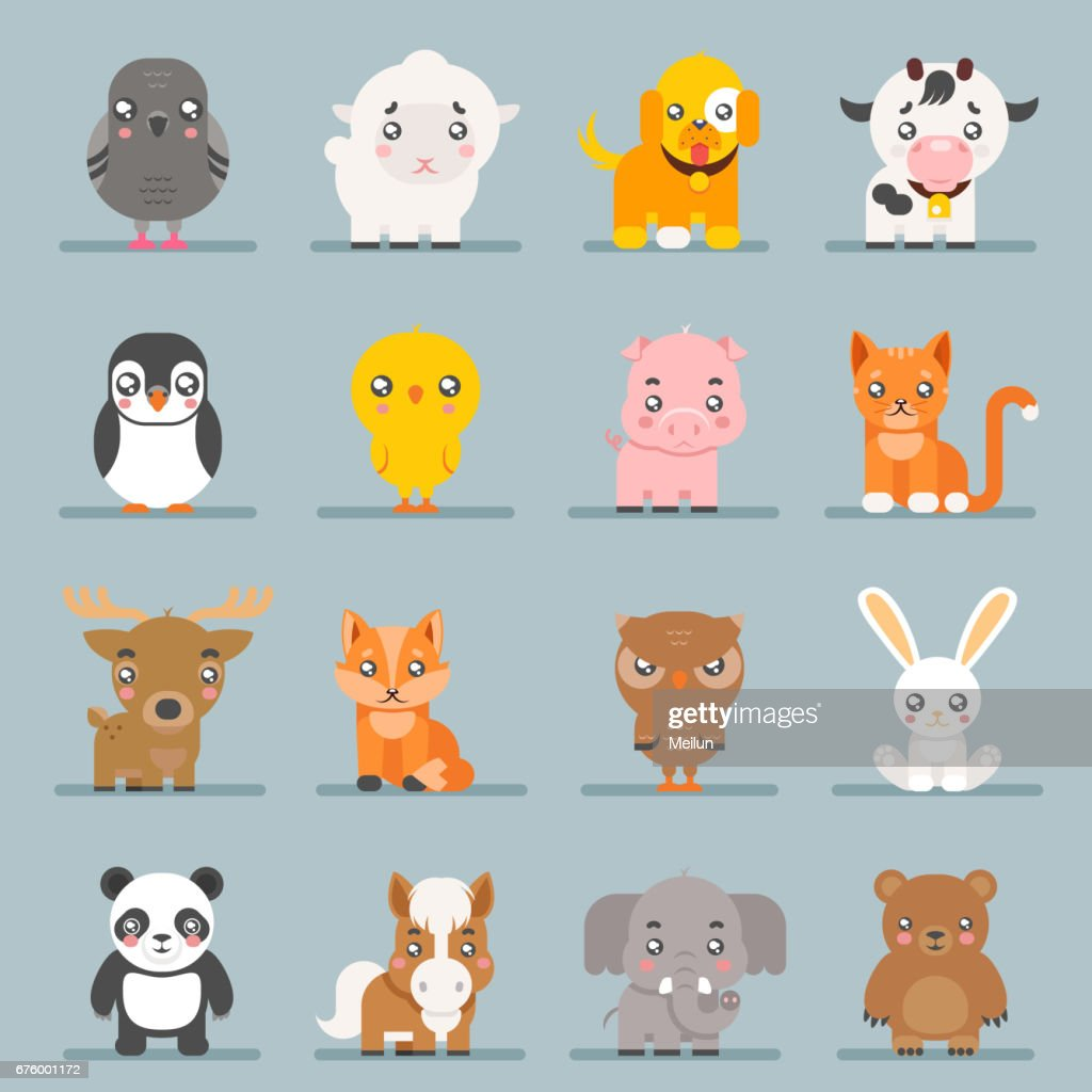 Cute Baby Animals Cartoon Cubs Flat Design Icons Set Character Vector Illustration High Res Vector Graphic Getty Images