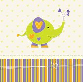 Cute baby background with elephant