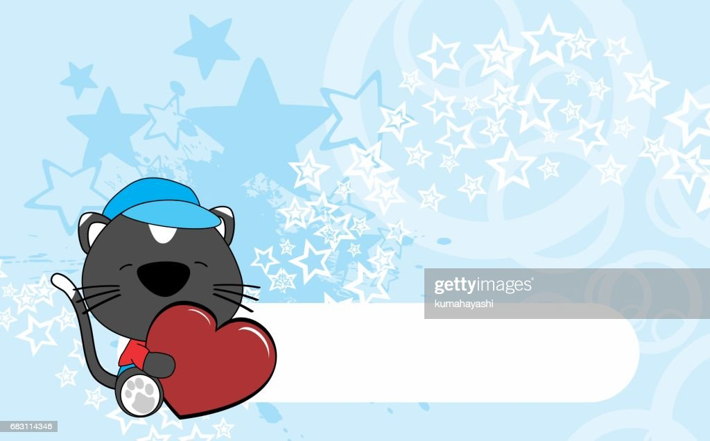 cute baby black cat hug heart background