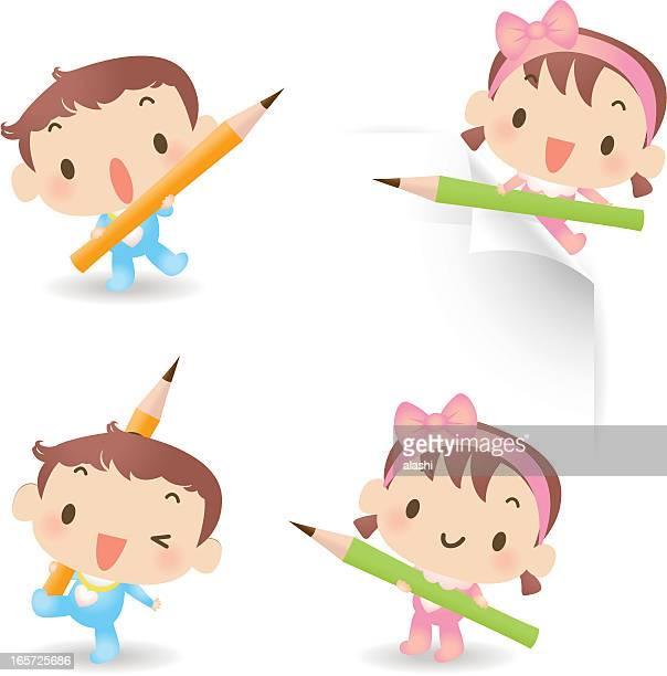 ilustrações, clipart, desenhos animados e ícones de lindo bebê menino e menina com lápis - cartoon characters with curly hair