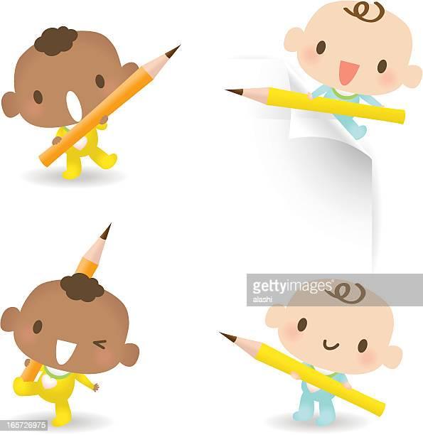 ilustrações, clipart, desenhos animados e ícones de bonito bebê menino segurando lápis - cartoon characters with curly hair