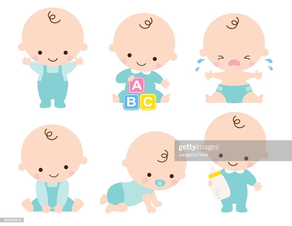 Cute Baby Boy Vector Illustration