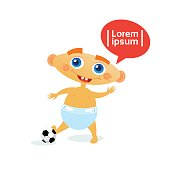 Cute Baby Boy With Football Ball Toddler Happy Cartoon Infant In Diaper