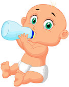 Cute baby cartoon drinking milk from bottle