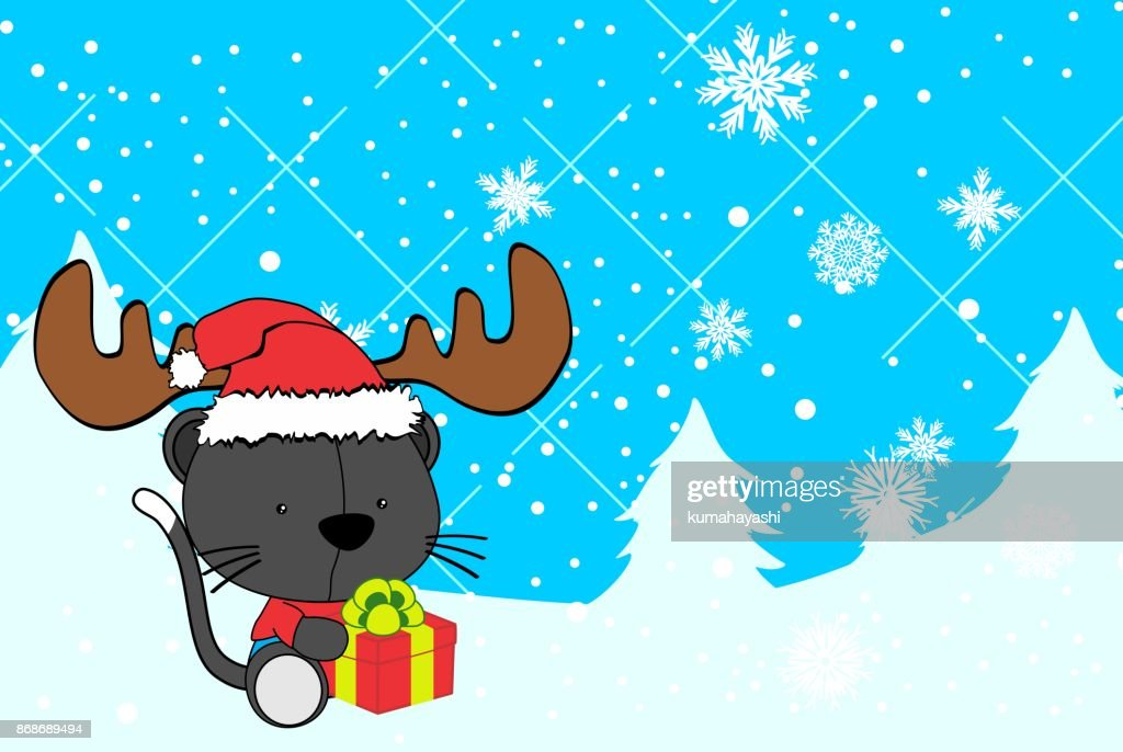 cute baby cat cartoon xmas background