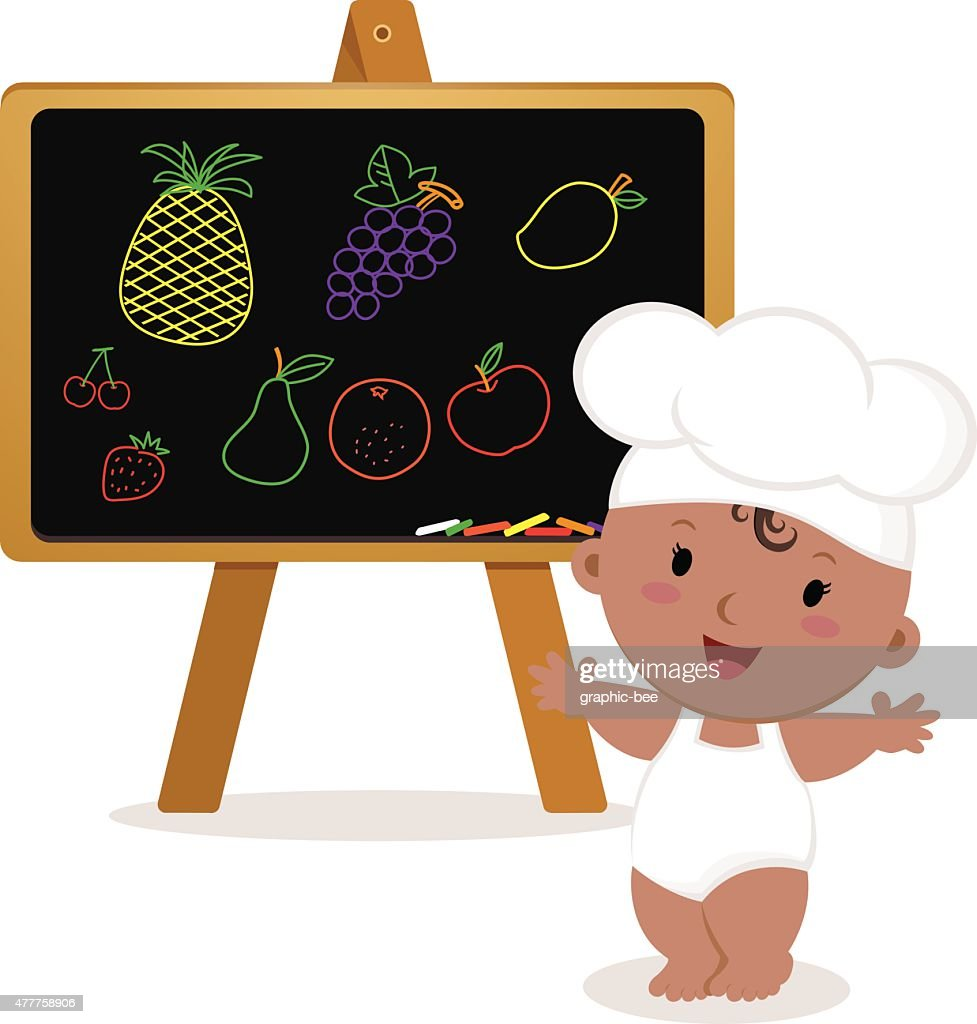 Cute baby chef. Baby girl with board.