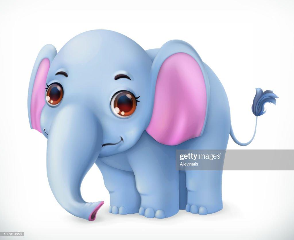Cute baby elephant cartoon character. Funny animals 3d vector icon
