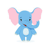 Cute baby elephant, funny jungle animal character vector Illustration