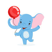 Cute baby elephant having fun with red balloon, funny jungle animal character vector Illustration