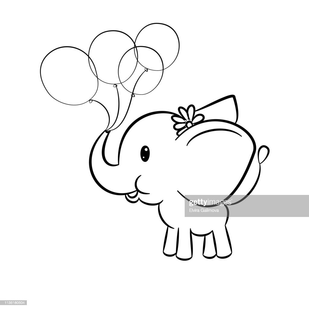 Cute  baby elephant holding balloons in trunk on white background.  Colouring page. Vector illustration.