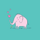 Cute baby elephant in love with hearts - vector illustration