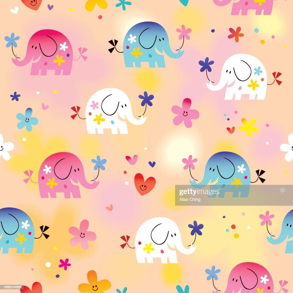 cute baby elephants seamless pattern
