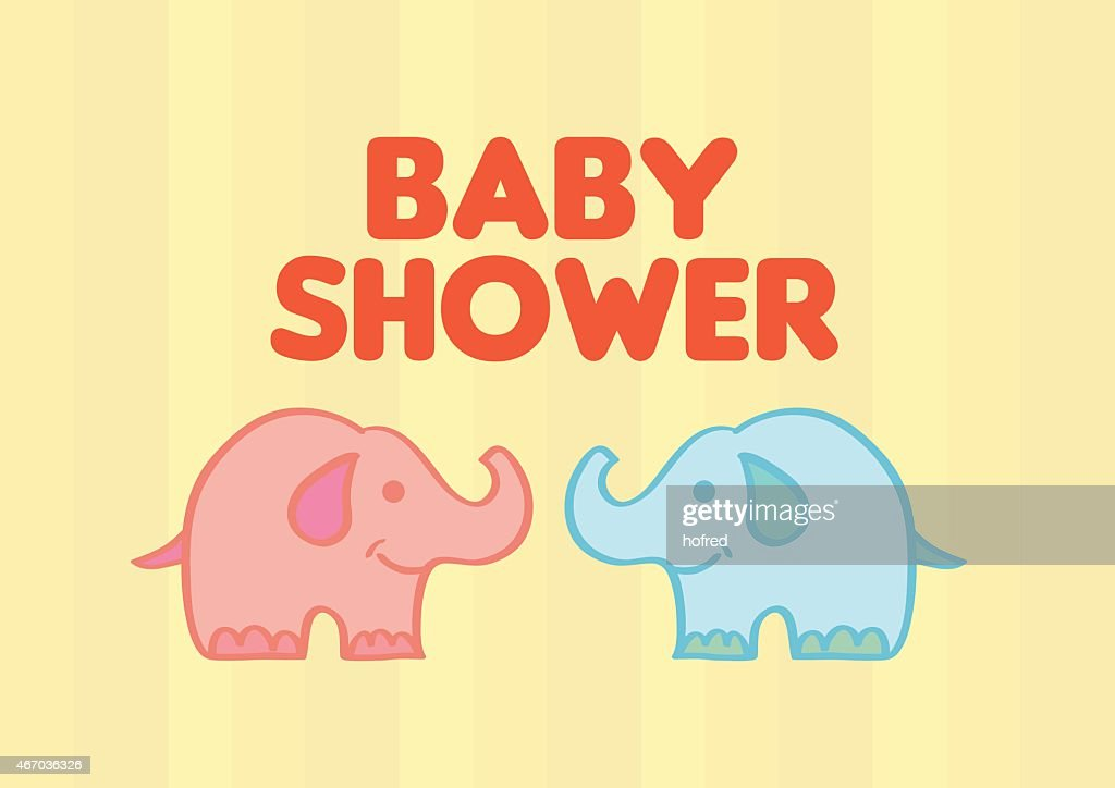Cute Baby Elephants Vector Illustration for Baby Shower