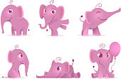 Cute baby elephants. Wild african funny adorable animals vector characters in different action poses