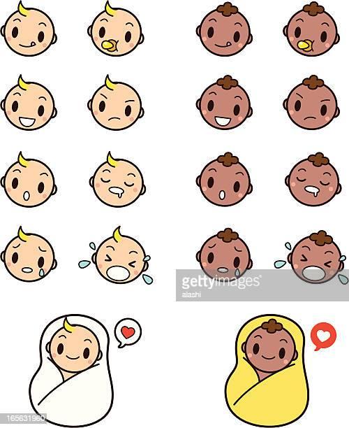かわいい赤ちゃんの顔アイコンセット顔文字