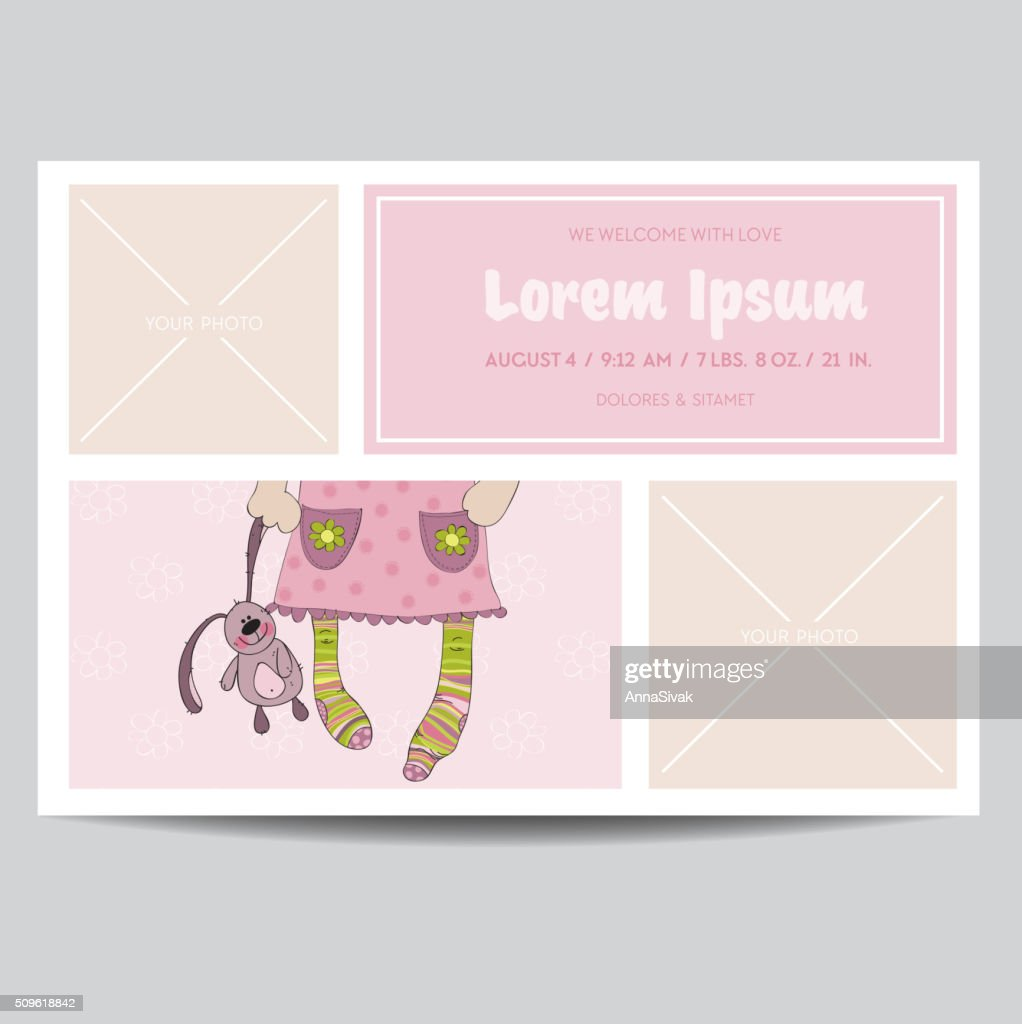 Cute baby girl arrival card for baby shower invitation vector art cute baby girl arrival card for baby shower invitation vector art filmwisefo