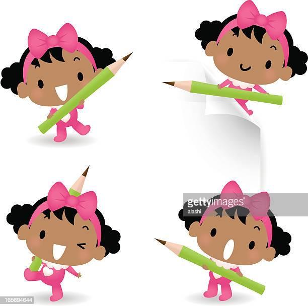 ilustrações, clipart, desenhos animados e ícones de lindo bebê menina com lápis - cartoon characters with curly hair