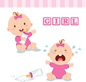 Cute baby girl with milk bottle