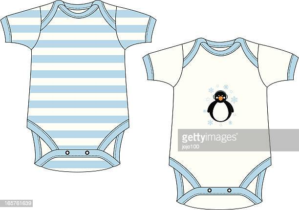 cute baby gro with happy penguin character - infant bodysuit stock illustrations
