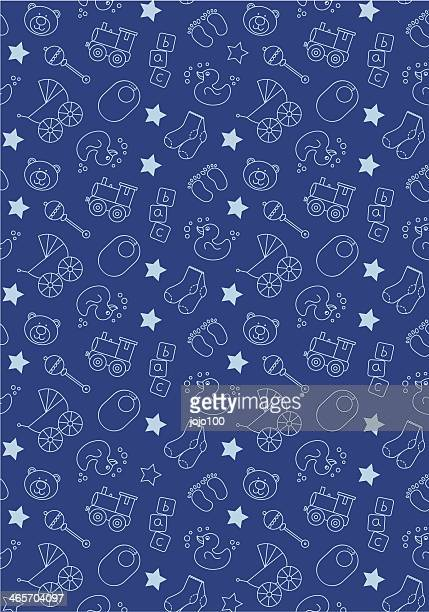 cute baby icons in repeat - toy rattle stock illustrations