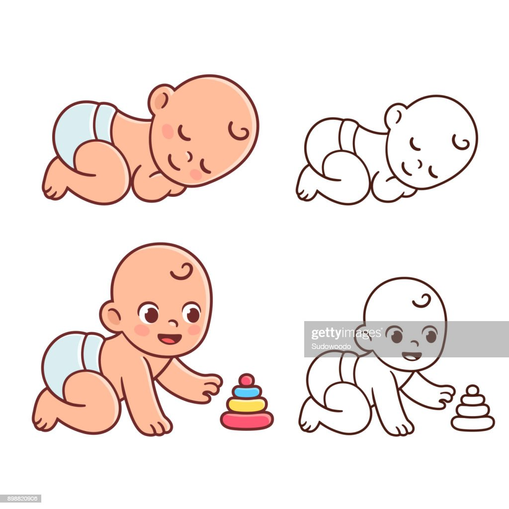 Cute baby illustration set