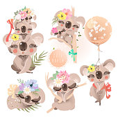 Cute baby koalas (coala) with flowers, floral wreath, bouquet, balloon and tied bows collection, set. Adorable baby animals