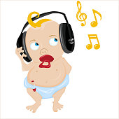 Cute Baby Listening to some music