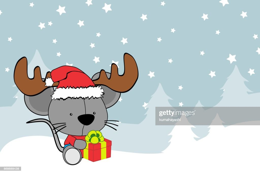 cute baby mouse cartoon xmas background
