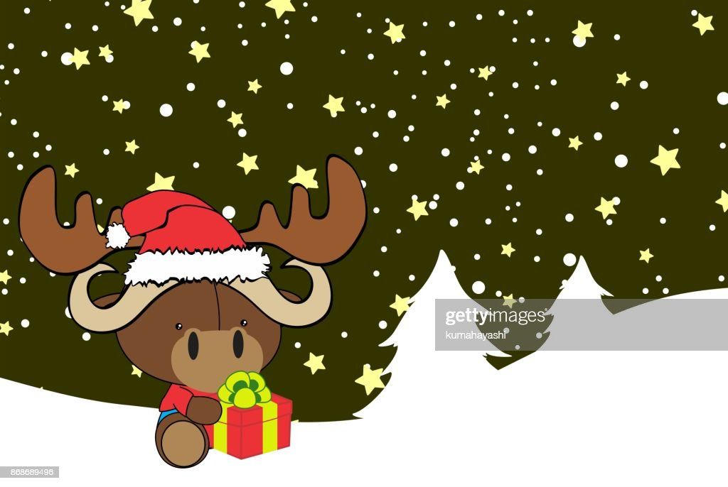 cute baby ox cartoon xmas background