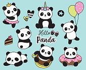 Cute Baby Panda Vector Illustration