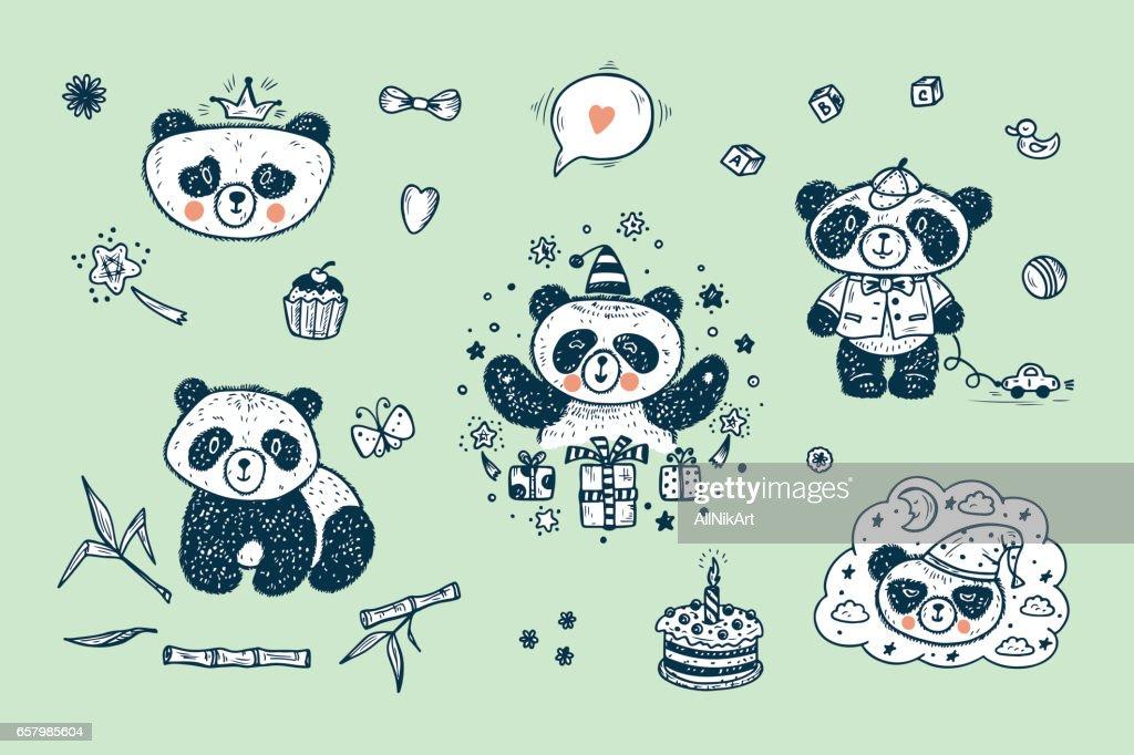 Cute Baby Panda Vector Set. Hand Drawn Doodle Funny Black and White Bear Cartoon Characters
